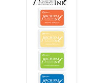 Mini Archival Ink Pad Kit 3 Bright TANGELO, Chrome YELLOW, Vvid CHARTREUSe, Manganese BLUE AIMK57697 1.cc55