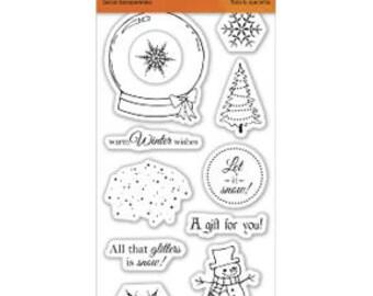 """Fiskars 3"""" x 6"""" Clear Stamp Set -ALL THAT GLITTERS Snow globe snowman cc02"""