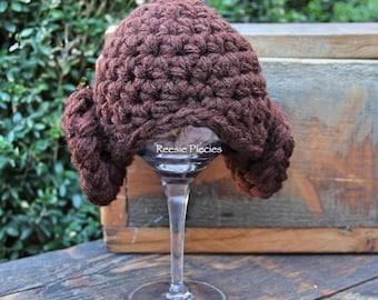 Princess Leia Hat, Crochet Star Wars Hat, Crochet Princess Leia Hat, Baby Shower Gift, Newborn Photo Prop, Princess Leia Photo Prop
