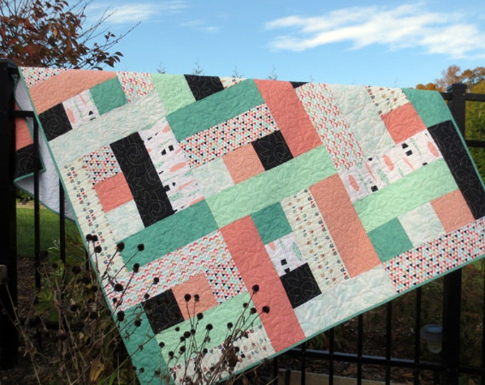 Shabby Chic Quilt/Throw - Feathers and Arrows - Gold Flecks, Coral, Black, Teal - Designer Collection  - Ready to Ship