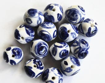 Large Blue and white beads, Handmade Beads, Ceramic Beads,  African Beads, bead made by hand, hand painted beads, rose beads, made in Africa
