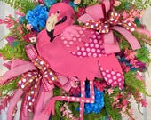 Bright and Whimsical Blue and Pink Flamingo Mesh Door Wreath