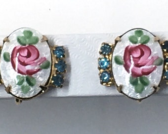 Vintage guilloche enamel rose crystal earrings screw-back
