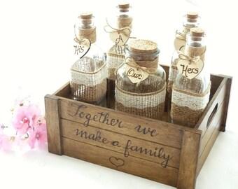 Personalized Rustic Wedding Unity Sand Ceremony Set Custom Heart Shabby Chic Wedding Crate Family Sand Ceremony Set Unity 3, 4, 5, Jars