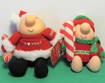 Ziggy Christmas plush figures, Set of 2, 1980's