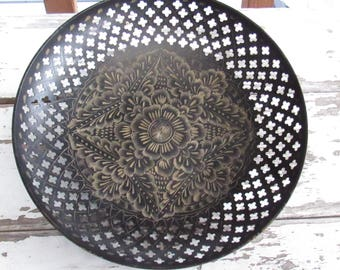 """Black and Gold Etched Metal Bowl, 8"""" across"""