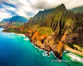 "Beautiful Hawaiian Landscape Fine Art Print titled ""High Cliffs"" printed on Aluminum Metal or Canvas"