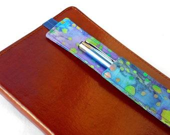 Blue and Purple Batik Pen Holder for Journal - Purple Pencil Holder Journaling