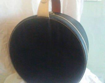 "SALE!!! Lg. 16"" Mid Century Train Case Luggage Blue W/Leather Handle Warren Mass. K. H. Parsons Travel Storage Table Repurpose Hat Box"