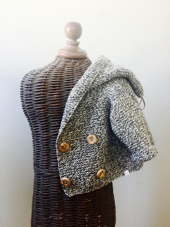 Hand knitted Handmade Baby Wool Sweater Coat Hooded Cardigan