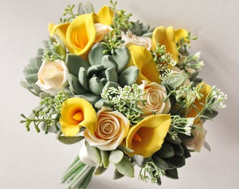 Alternative wedding bouquet Keepsake Succulents Calla lilly bouquet Bridal Bouquet Yellow Green bouquet with callas Clay bouquet