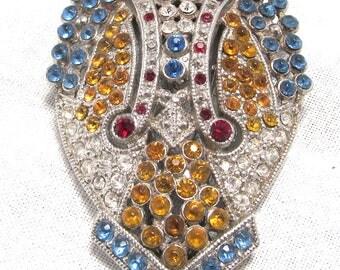 Lisner Dress Clip Multi Color Rhinestone Art Deco Design Signed