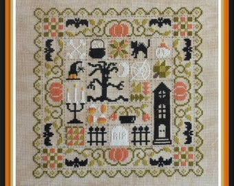 Patchwork Halloween – counted cross stitch chart to work in 7 colours of DMC thread. Patchwork motifs.  Halloween motifs. Trick or Treat.
