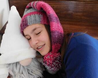 Sleeping Nancy - Crochet Elf Hat Pattern - Winter Crochet Hat Pattern - Elf Crochet Hat Pattern - Easy Bobble Hat Crochet Pattern