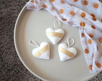 Heart Ornaments Felt Hearts, White & Gold, Wedding Decorations, Home Decor, Hanging Plush Hearts, Gold Ribbon, Set of 3