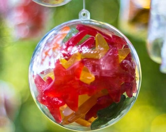 x20 Baubles Christmas Decorations 120mm Fillable Empty Clear Plastic