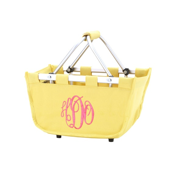 Yellow  mini Market tote picnic basket tote monogram basket tote personalized tote bag tailgate tote bag college dorm shower caddy basket