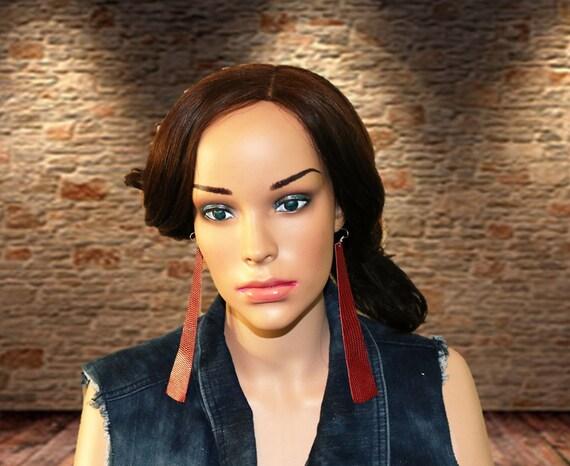 Long strip leather earrings - Lightweight leather earrings - Dangle Earrings - Boho - Drop earrings - Crimson, red snakeskin earrings