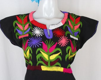 Maize- Embroidered Multicolor Mexican Huipil on 100% Cotton- Black- BOHO-Hippie- Corn- Elote- Frida Kahlo