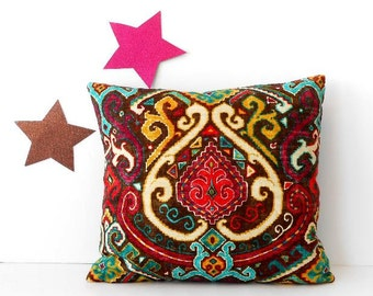 16x16 Tribal Pillow Cover, Maroon, Pink, Gold, Blue on Brown Accent Pillow, Couch Cushion Cover, Old World Style Pillow Case, Waverly Sham