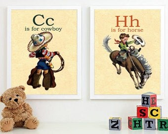 C is for Cowboy, H is for Horse-Retro Vintage Boy Cowboy Buckaroo A4 2 alphabet flashcard print wall art set