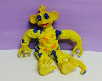 Vintage Trendmasters, Blawp, Lost in Space, Talking Alien, Yellow and Blue Alien, Stuffed Animal, Weird Plush, 1990s Toys, Talking Toys