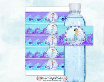 Mermaid Purple & Turquoise Teal Water Bottle Label   Tail Tiara Pearls   Caucasian Vintage Baby Girl   Digital Instant Download