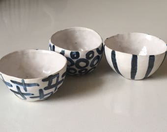 A set of 3 handmade ceramic mini bowls, salt bowl, condiment bowl, set of bowls