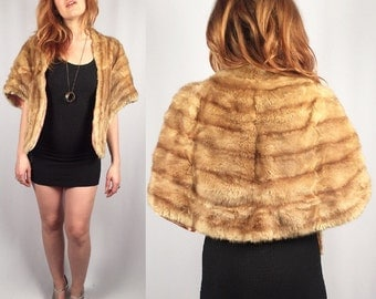 Vintage light honey mink fur stole capelet