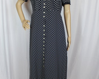 Navy and white polka dot dress