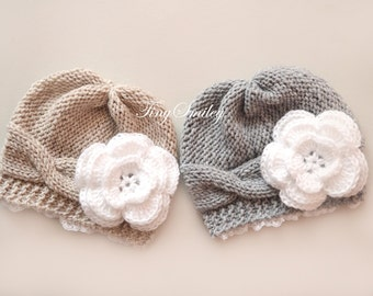 Twin Baby Hats, Twin Beige and Gray Flower Baby Hats, Twin Knit Hats, Twin Baby Outfits, Newborn Twin Hats, Twin Newborn Girl Hats