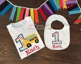 Birthday Shirt - Bus Birthday Shirt -Boys Birthday - Wheels on the Bus Birthday Shirt - Wheels in the Bus go Round and Round