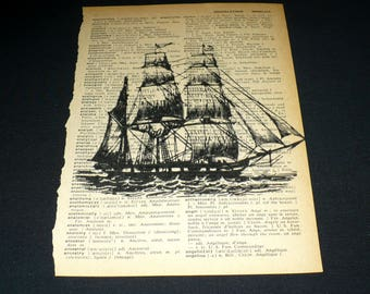 Pirate Ship Dictionary Art Print Home Decor Gallery Wall Book Page Art Vintage Nautical Boat Vessel Sailing