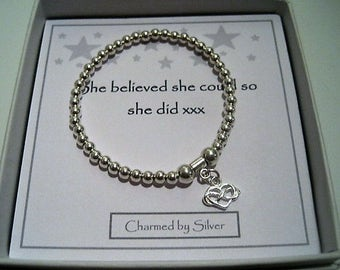 Sterling Silver Infinity Heart Charm Stretch Bead Bracelet - a perfect gift for a loved one