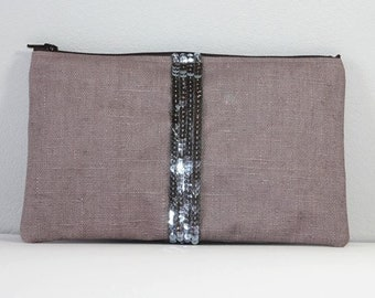 Waxed linen and sequin stripes zippered pouch.