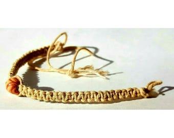 Hemp Bracelet with Medium Wood Bead