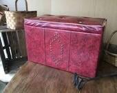 "Retro red vinyl storage chest, bench, ottoman, 24 X 12 X 16"""