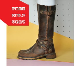 90s TALL boots leather boots CHUNKY boots BOHO boots western boots combat boots hunter boots woodland boots / Size 7.5 us / 5 uk / 38 eu