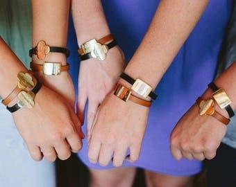Personalized Leather Bracelet name jewelry monogram bracelet bridesmaid gift