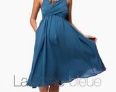 Maternity Dress, Blue dress,  Cocktail Dress, baby shower dress, classic dress, dress without sleeves,fluid dres, summer maternity dress.