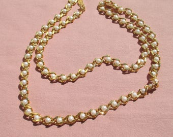 Vintage Napier Long White Faux Pearl  Chain Necklace