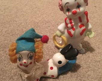 SALE Two vintage kitschy clown figurines