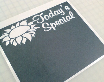 """Today's Special Chalkboard Memo Vinyl Wall Sticker Decal 11""""h x 13""""w"""