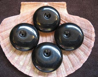 Vintage Lucite Beads Black Round with Off Center Hole 25.5mm x 8mm -  Four pieces