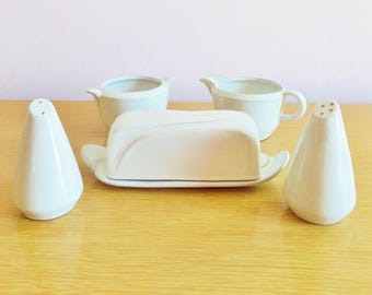 Frankoma Serving Set - Butter Dish, Salt and Pepper Shakers, Creamer and Sugar Bowl - Mid Century Pottery - 1962