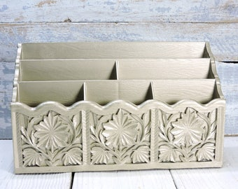 Lerner Organizer Upcylced Vintage Desk/Mail Organizer Resin Muted Gold with Six Sections to Store All Your Office, Craft Supplies or Mail