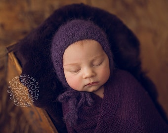 Newborn Hat//Newborn Props//Fuzzy Knitted Purple GirlBonnet//Baby Shower Gift//Knit Baby Hat//Photography Props//Baby Bonnet//Knitting