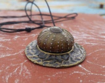 Real Green Sea URCHIN necklace , pendant
