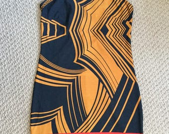 Vintage Dress Papillon Geometric Sleeveless  Black Gold Red STRIKING!!