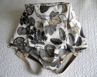 Fantasy gray linen case bag - double shoulder strap - summer bag.